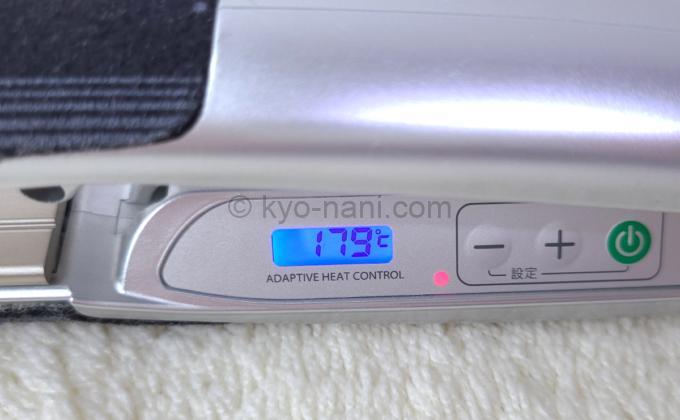 ストレートアイロン ADST(アドスト)の温度表示部分の写真