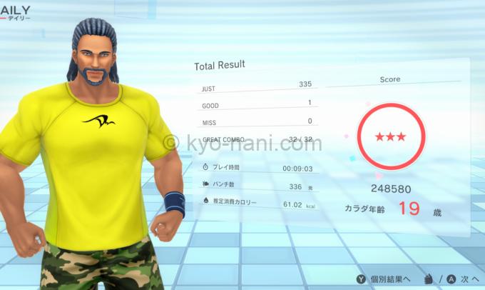 フィットボクシング2のプレイ結果画面