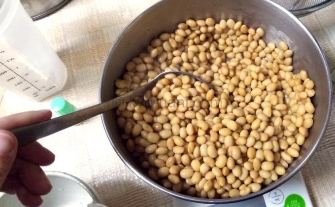 蒸した大豆に納豆菌を混ぜている写真